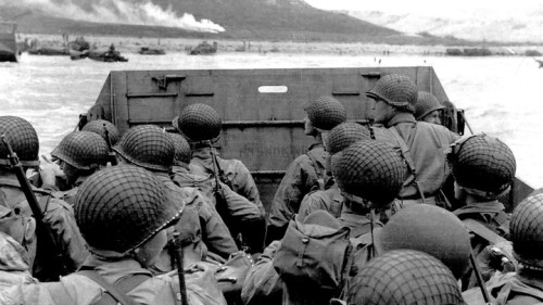 American troops approaching Omaha Beach.