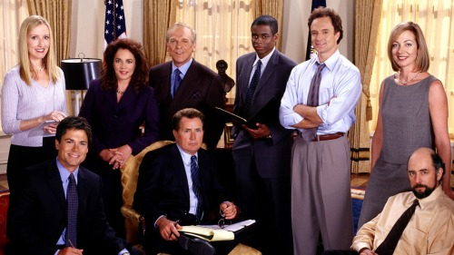 THE WEST WING, clockwise from top left: Janel Moloney, Stockard Channing, John Spencer, Dule Hill, B